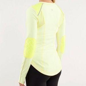 lululemon quilted ice queen running top yellow ice